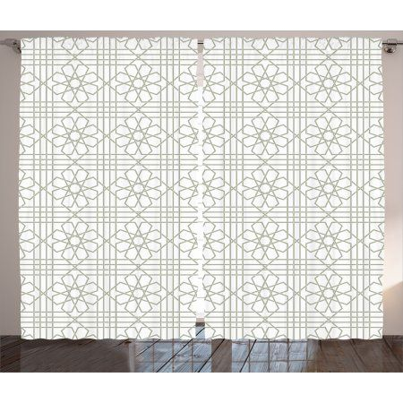 Grey Decor Curtains 2 Panels Set Arabesque Pattern Mosaic Tiles With Moroccan Floral Traditional Rod Pocket Curtain Panels Rod Pocket Curtains Moroccan Decor