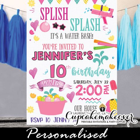 13w 2 Splish Splash Birthday Invitations Girls Pool Party Water Bash