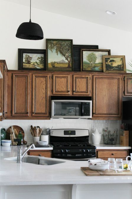 9 New Ideas For Decorating Above Your Kitchen Cabinets In 2020 Farmhouse Style Kitchen Cabinets Kitchen Cabinets Decor Modern Kitchen Cabinet Design