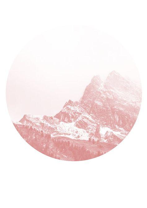 Mountain Print Modern Art Print Blush Rose Photography