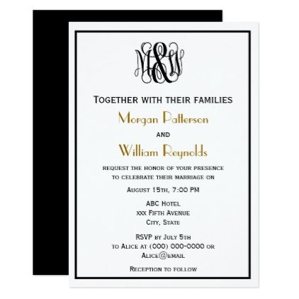 Black Vine Script Monogram B&G DIY BG Wedding Invitation | Zazzle ...