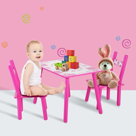 Qiilu Childrens Wooden Table And Chair