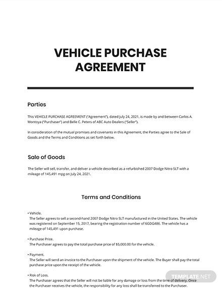Vehicle Purchase Agreement Template Free Pdf Google Docs Word Apple Pages Template Net Purchase Agreement Agreement Inspirational Books