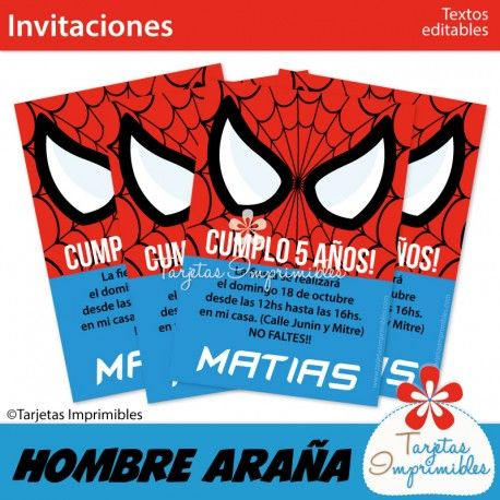Invitaciones De Superhéroes Para Imprimir Hombre Araña