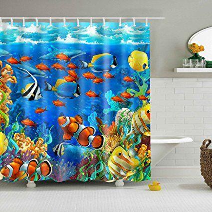 Gwell Blue Ocean Tropical Fish Coral Undersea World Shower Curtain
