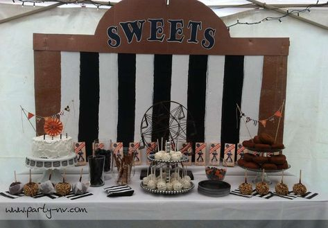 Fun Halloween carnival party sweets dessert table! See more party planning ideas at CatchMyParty.com!