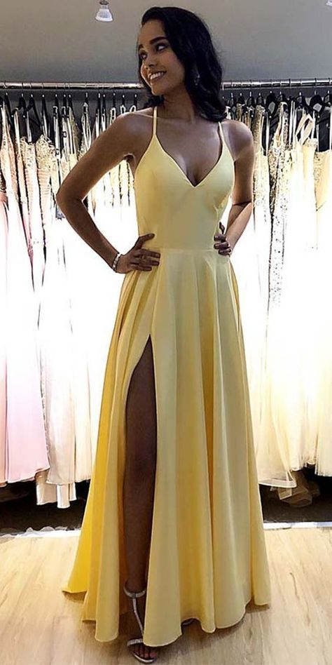 Simple Long Spaghetti Straps Prom Dresses Fahion Long Side Slit School Dance Dresses Custom Made Long Yellow Evening Party Dress SPD238