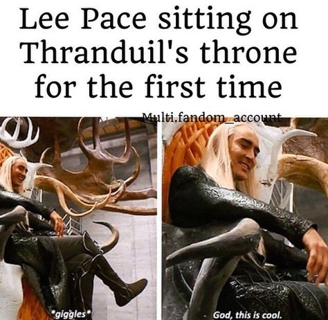 Behind the scenes Legolas And Thranduil, Aragorn, Thranduil Funny, O Hobbit, Funny Memes, Hilarious, Jrr Tolkien, Lee Pace, Book Fandoms