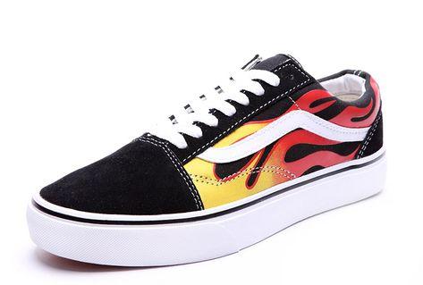 f3ac7da9130c79 Vans Ghost Rider Fire Old Skool Skate Shoes Black  Vans