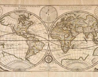 Digital Antique Map World Double Hemisphere Map Joan Blaeuc Etsy Old World Maps World Map Poster World Map Tattoos