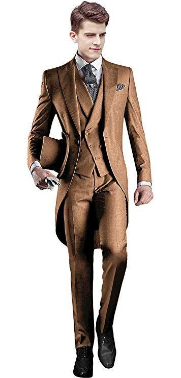 Everbeauty Mens Handsome 3 Pieces Tailcoat Suit Set Business Suit for Men Formal Wedding Attire 2019 EXZ001