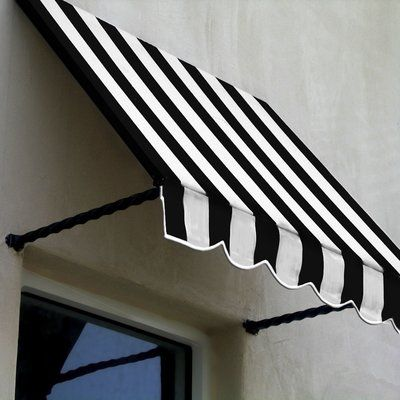 Awntech Santa Fe Twisted Rope Arm Window Awning Colour Black White Size 44 H X 64 5 W X 24 D In 2020 Window Awnings Metal Awning Window Design