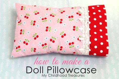 Last lesson we learned how to sew a doll pillow. Today we will learn how to sew a pillowcase with this free doll pillowcase pattern. Pillow cases that fit perfectly and also allow for fabulous finishing touches to the beddi Sewing Doll Clothes, Sewing Dolls, Doll Clothes Patterns, Doll Patterns, Dress Patterns, Barbie Clothes, Baby Doll Clothes, Knitting Patterns, Sewing Patterns