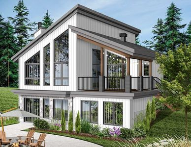 Plan 22522dr Modern Vacation Home Plan For The Sloping Lot Lake House Plans Small Lake Houses Drummond House Plans