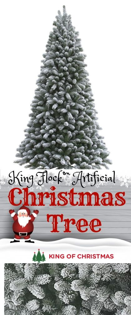 7 5 King Flock Artificial Christmas Tree With 800 Warm White Led Lights Flocked Artificial Christmas Trees Christmas Tree Pre Lit Christmas Tree