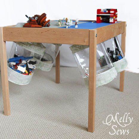 Under Table Toy Storage Bucket Tutorial Geniale Idee Transparente Tischdeckenfolie Macht S Moglich Gi Toy Storage Solutions Diy Toy Storage Toy Storage Bins