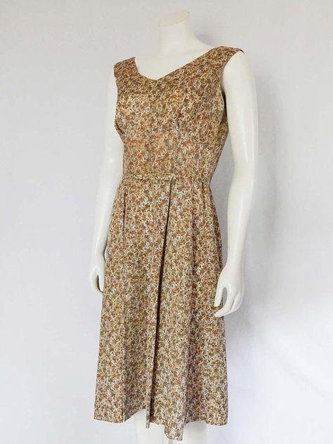 f8c40ed8d8e Vintage 50s Fifties Dress Small S Short Sleeve