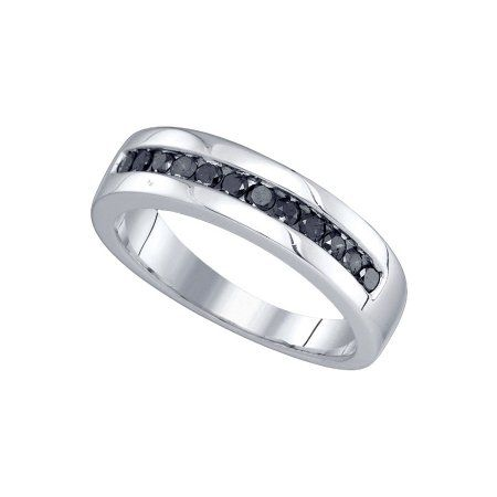 10kt White Gold Mens Round Black Colored Diamond Band Wedding