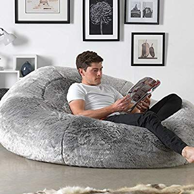 Brilliant Icon Kenai Cloud Bean Bag Chair Arctic Wolf Grey 160Cm X Squirreltailoven Fun Painted Chair Ideas Images Squirreltailovenorg