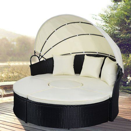 Gymax Cushioned Patio Rattan Round Daybed W Adjustable Table 3 Pillows Canopy Walmart Com Daybed Canopy Wicker Patio Furniture Set Canopy Outdoor