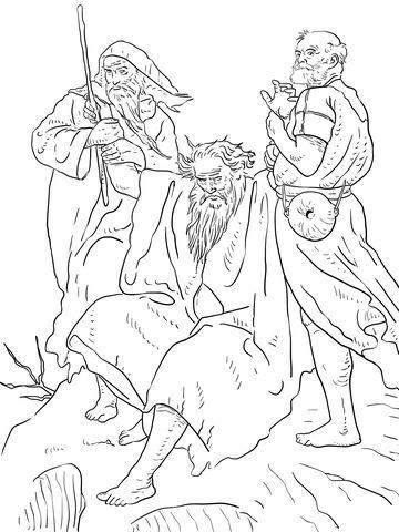 Aarón y Hur sostienen las manos de Moisés Dibujo para