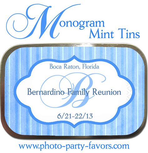 Monogram Mint Tins - Idea for Family Reunion Favors - Large, Personalized Candy Tins are a treat for every family member!  Other colors available.  More family reunion favors at http://www.photo-party-favors.com/family-reunion-favors.html