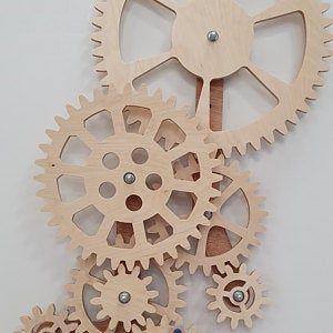 Wooden Kinetic Wall Decor Mechanical Wall Art Wooden Etsy In 2020 Gear Wall Clock Large Wooden Wall Clock Wooden Desk