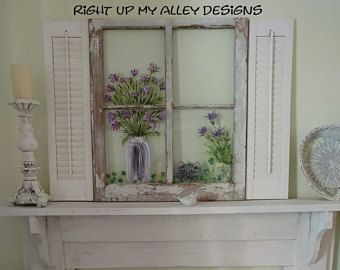 Old Windows Painted Old Windows All Windows Sold Custom Orders Welcomehand Painted Windows Wall Art Shabby Chic Floral Painted Windows Shabby Chic Decor Shabby Chic Living Room Shabby Chic Homes