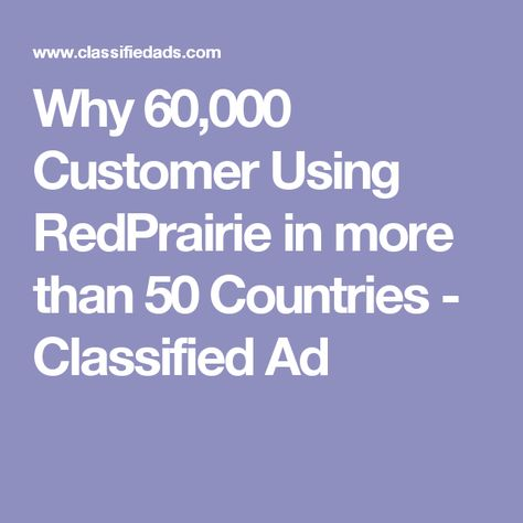 Why 60,000 Customer Using RedPrairie in more than 50 Countries - feedback survey template