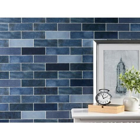 Zellige Zirconium Polished Ceramic Tile In 2020 Blue Tile Backsplash Kitchen Blue Herringbone Backsplash Ceramic Tiles