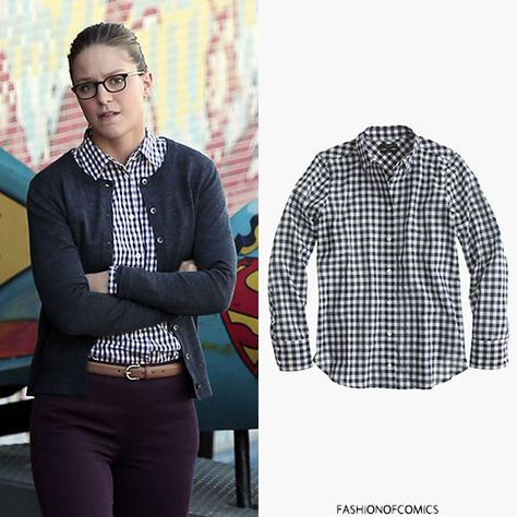 Shirt by J. Crew, IDed by fashionofcomics. http://fashionofcomics.tumblr.com/post/132674596413/who-melissa-benoist-as-kara-danvers-kara-zor-el