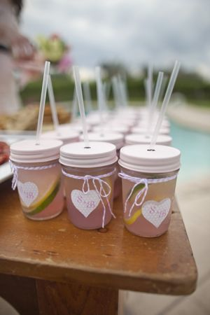 pink mason jars with pink lemonade
