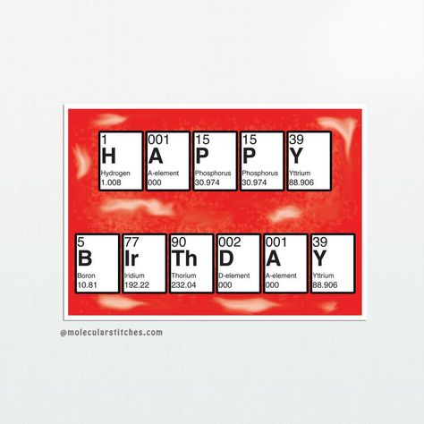 Periodic Table Of The Elements Hppy Bdy Happy Birthday Card 100 Recycled Eco Friendly Geburtstagskarte Coole Geschenke Geschenkideen
