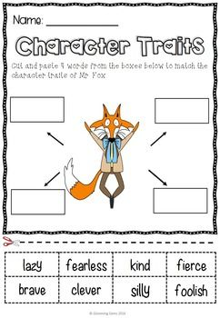 Fantastic Mr Fox Character Traits Character Traits Activities Fox Character Fantastic Mr Fox Characters
