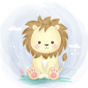 Cute Watercolor Lion Illustration Lion King Clipart Baby Shower Cartoon Png And Vector With Transparent Background For Free Download Leao Aquarela Ilustracao Animal Ilustracao De Leao