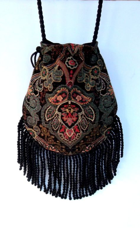 Fringed Tapestry Gypsy Bag Black Cross Body Bag Bohemian Indie bag renaissance…