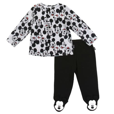 3dadf99c1475 Disney Mickey Mouse All Over Print Baby Boys Fleece Footed Pants And ...