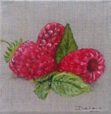 Tableau Acrylique Figuratif Fruits Rouge Jardin Ete Cuisine
