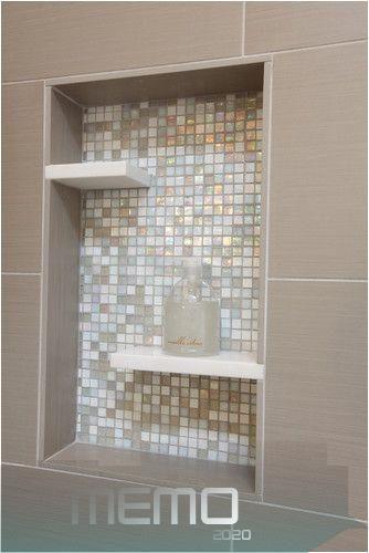 Nov 30 2012 Shower Niche Glass Mosaic Tile Pure White Caeserstone Shelves Inserts Taupe Por In 2020 Glass Shelves In Bathroom Floating Glass Shelves Shower Niche