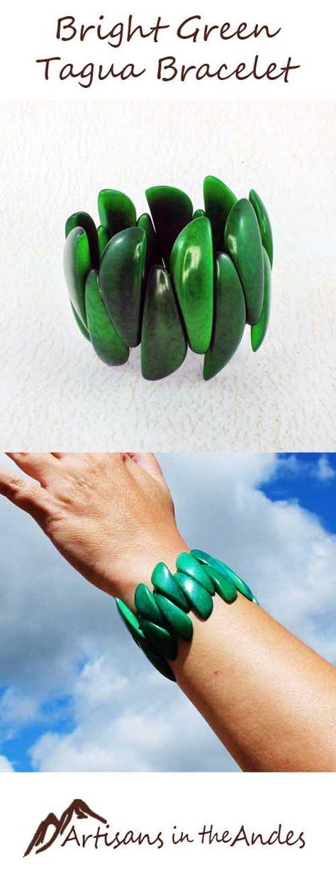 Green Bracelet made of Tagua Nut - Beaded Stretch Bracelet - Eco Friendly Gift - Green Jewelry - Bea