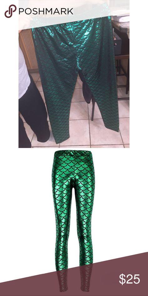 56953c897fb Shiny Fish Scale Mermaid Leggings- Plus Size New