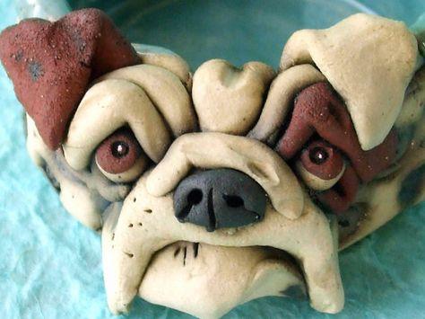 Ceramic Bulldog Bowl Sculpture White Bulldog Ceramics Bulldog