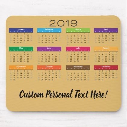 Personal Calendars 2019 Your Custom Personal Text 2019 Calendar Month Year Mouse Pad