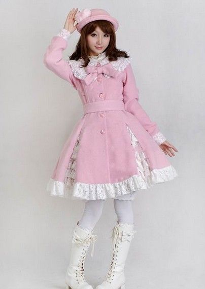 princess of the tailor Pink and White lolita dress gorgeous lady cascade of bud silk coat #lolita #coat #MyeSoul