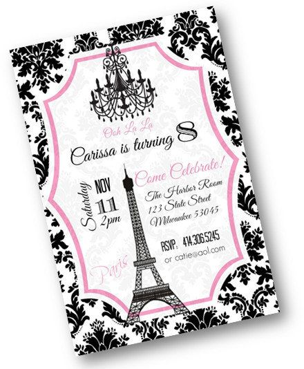 Pink and Black Damask Paris Theme Birthday Party invitation with – Damask Birthday Invitations