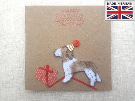 Handmade Birthday Springer Spaniel Dog Card Personalise Lover Greeting Large Happy Party Hat Celebration