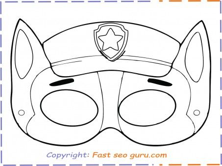 Print Out Paw Patrol Chase Mask Printable Coloring Pages