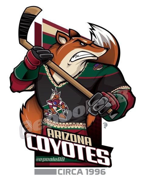 Retro late 1990s Phoenix Coyotes, courtesy of that great cartoonist #EPoole88.