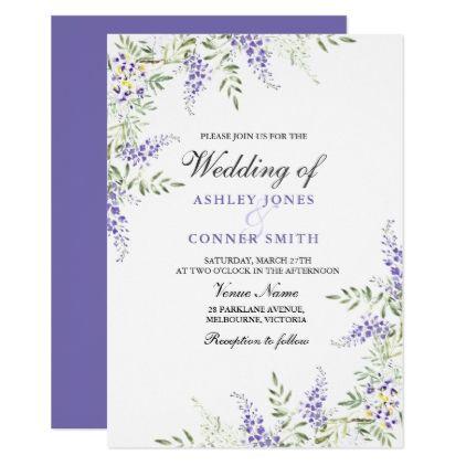 Elegant Purple Lavender Fl Wedding Invite Zazzle Com