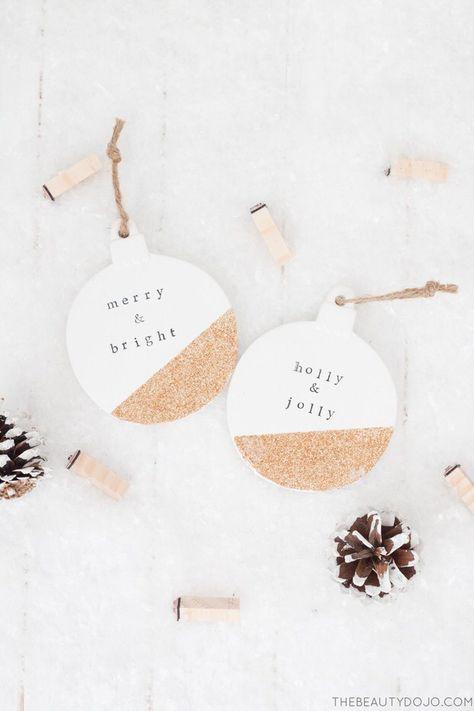 15 DIY Christmas Ornaments Minimalists Will Love - Weihnachten / Christmas - DIY Clay Christmas Decorations, Rustic Christmas Ornaments, Glitter Ornaments, Noel Christmas, Homemade Christmas, Christmas Projects, Simple Christmas, Holiday Crafts, Ornaments Ideas